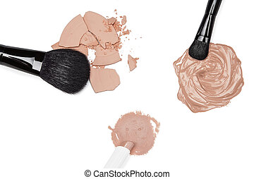 Foundation, concealer and powder with makeup brushes -...