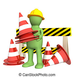 3d puppet with emergency cones Objects over white