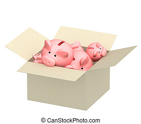 Piggy banks in box