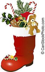 Christmas boot and teddy bear -