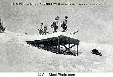 old postcard Winter in Savoie, skiers, they jump...