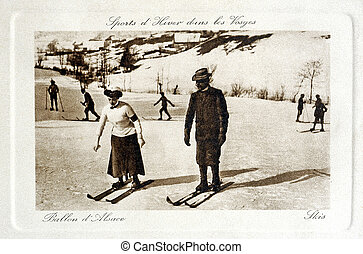 old postcard Winter Sports in the Vosges the Ballon d'Alsace...