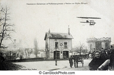 old postcard Lieutenant Camerman and Vullierme passing...