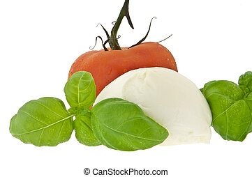 Mozzarella cheese, tomato and fresh basil (with clipping...