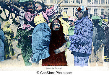 old postcard Carnival of Nice