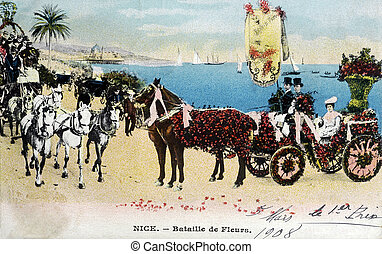 old postcard Carnival of Nice, Battle of Flowers...