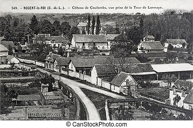 old postcard of Nogent-le-Roi, slope of Coulombs...