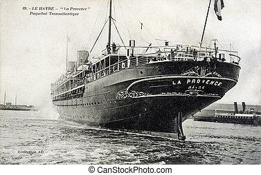 old postcard of the Havre, Provence, transatlantic liner...
