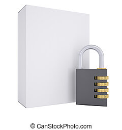 Combination lock and white box. Isolated render on a white...