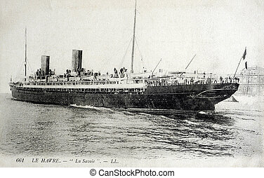 old postcard of the Havre, Savoie, transatlantic liner...