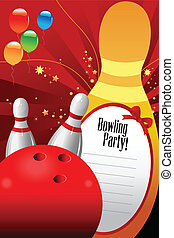 Bowling party invitation template - A vector illustration of...