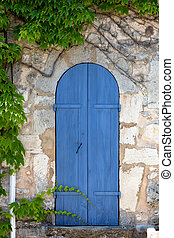 Mediterrenean narrow wooden door - Old narrow door, blue...