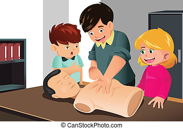 Kids practicing CPR - A vector illustration of kids...