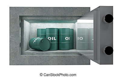 Tank oil and safety box - fine 3d image, oil tank in safety...
