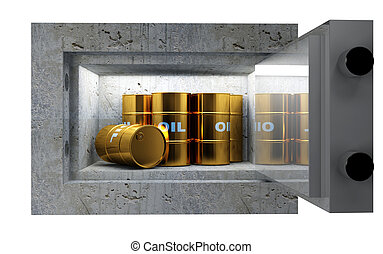 oil tank  - fine 3d image, oil tank in safety box
