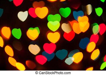 abstract festive hearts bokeh