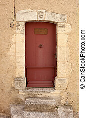Old entrance door - Old restored red painted entrance door,...