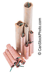 Isolated Firecrackers with Copyspace on white background