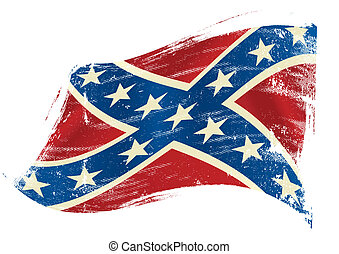 confederate flag grunge - A confederate flag in the wind...