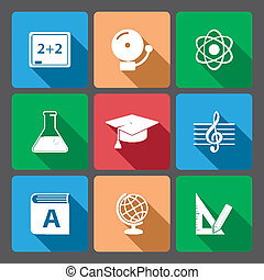Iconset for educational app for school isolated vector...