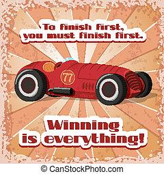 One retro sport car postcard
