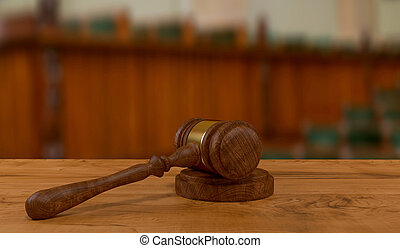 judges gavel on wooden table - 3d rendering of judges gavel...
