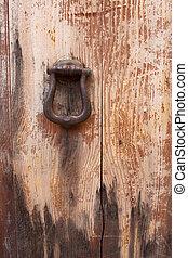 Old massive door, close-up