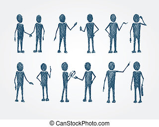 Set of doodle busines people collaboration isolated vector...