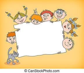 Doodle kids holding blank sign vector illustration