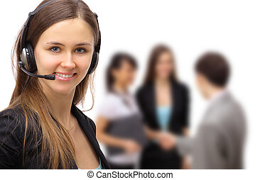 business woman with headset. - Smiling pretty business woman...