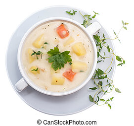 Potato Soup isolated on white background