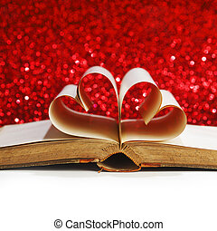 Heart inside a book - Heart made of blank pages inside a...