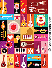 Music and Cocktail party - vector illustration. Patchwork...