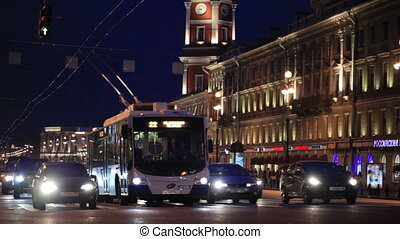 St. Petersburg at night. - Traffic in the evening in Nevsky...