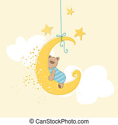 Baby Shower or Arrival Card - Sleeping Baby Bear - in vector...