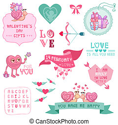 Cute Valentine's Day and Love Set - for Valentine's day, scrapbooking  in vector