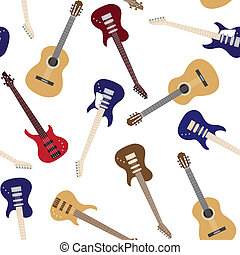 Seamless pattern with guitars