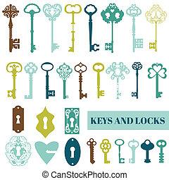 Set of Antique Keys and Locks - for your design or scrapbook...