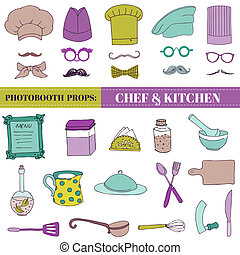 Chef and Kitchen - Photobooth Set - Glasses, hats, lips,...