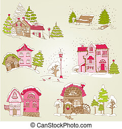 Set of Christmas Houses  - for design and scrapbook - in vector