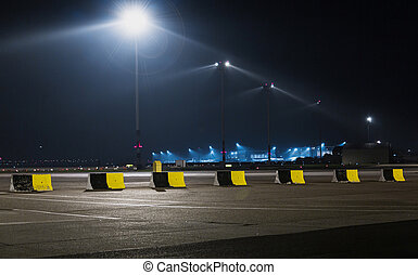 Airport lights in the dark