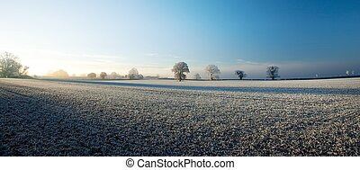 Cotswold farmland in winter - Hoar frost over the...