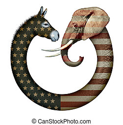 Political Party Animals - Digital and photo illustration of...