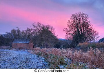 Old Barn at sunset - Sunset over Gloucestershire...