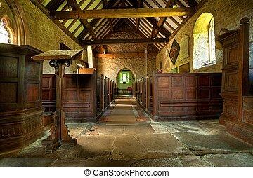 rural, iglesia, Shropshire