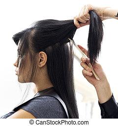mujer, peluquería, salón, pelo, estilo