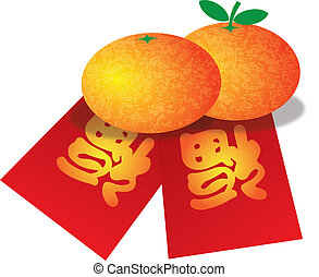 Chinese New Year Oranges and Red Money Packets Illustration...