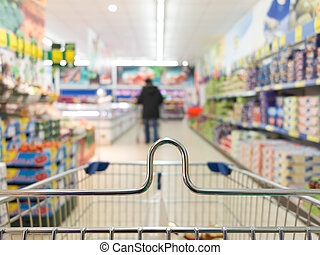 View from shopping cart trolley at supermarket shop Retail -...