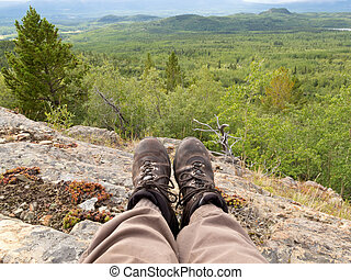 Resting taiga hiker Yukon Territory Canada - Tired hiker...
