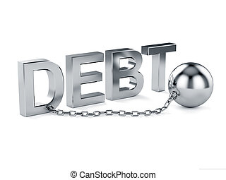 Slave concept - 3d illustration of debt text with chain...